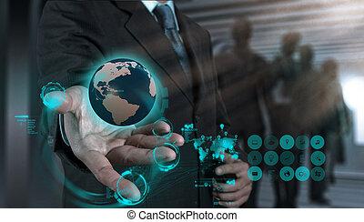 rede, trabalhando, mostrar, modernos, computador, homem negócios, novo, estrutura, social