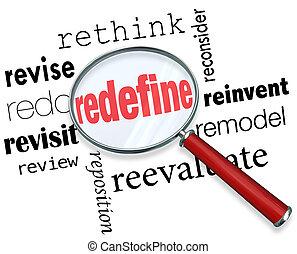 Redefine Rethink Remodel Revise Redo Magnifying Glass Words...