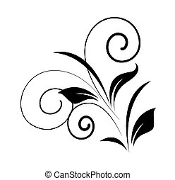 redemoinho, floral, forma, vetorial