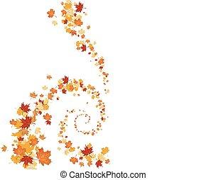 redemoinho, folhas, fundo