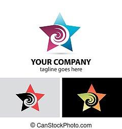 redemoinho, logotipo, abstratos, estrela, ícone
