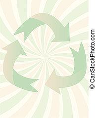 redemoinho, símbolo, reciclagem, illus, vetorial