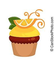 redemoinhos, fatia, isolado, cupcake, laranja, fresco, chocolate