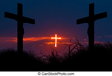 Redemption - Shining cross of Christ saving sinnes from the...