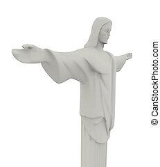 redentor, cristo, estatua, aislado
