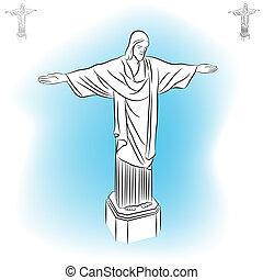 redentor, cristo, estatua