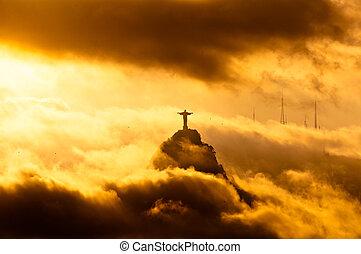 redentor, nubes, cristo