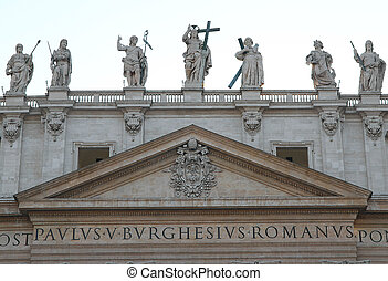 redentore's statue and other Saints above the Basilica in the Vatican