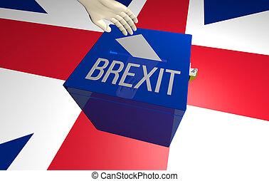 reder, brexit, conceito, ilustração, 3d