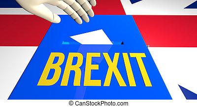 reder, brexit, conceito, ilustração, voto, 3d