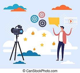 redes, apartamento, ilustração, gráfico, transmissão, blogging, concept., vetorial, desenho, câmera, social
