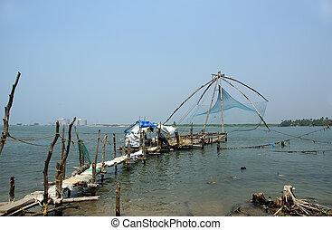 redes, chino, india, pesca, cochin, sur