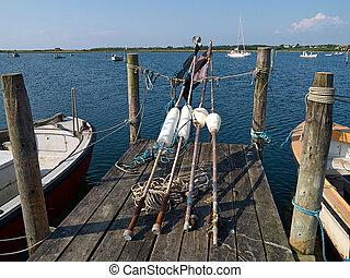 redes, engrenagem, madeira, doca, flutuações pescando