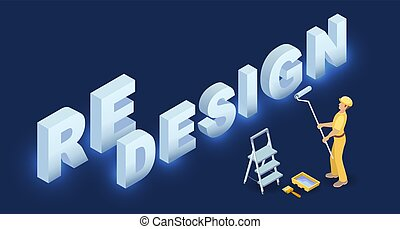 Redesign services. Isometric concept. Worker in uniform, ...