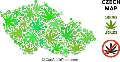 redevance librement, cannabis, feuilles, collage, tchèque,...