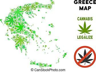 redevance librement, cannabis, feuilles, style, grèce, carte
