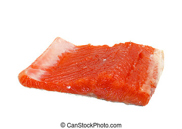 Redfish - Fresh trout fillet piece isolated on white...