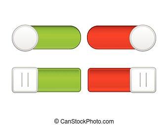 red/green, / fermé, sliders, blanc, fond