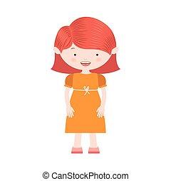 redhair, 服, 女の子, 黄色