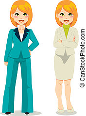 Redhair Business Woman - Redhair businesswoman in turquoise...
