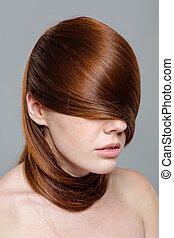 redhair, mulher, olhos, cabelos