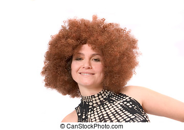 Redhaired beauty with afro wig - Beautiful woman with red...