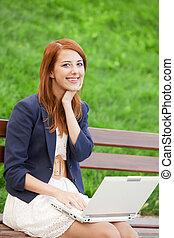 redhead, 女の子, ベンチ, ノート, モデル