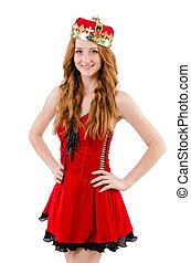 redhead, 女の子, 白, 王冠, 隔離された