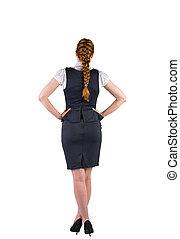 redhead, 從事工商業的女性站, 由于, 手 在 臀部