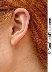 redhead, 耳, 女性