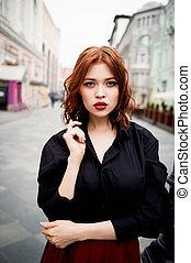 redhead., ardiente, pelo, ambulante, retrato, lleno, ...