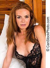 Redhead - Beautiful tall redhead in a black chemise