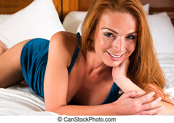 Redhead - Beautiful tall redhead in a turquoise dress