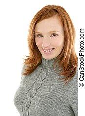 redhead beautiful woman portrait smiling
