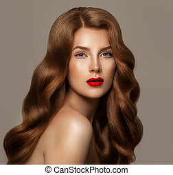 Redhead Beauty Woman with Long Natural Healthy Hair