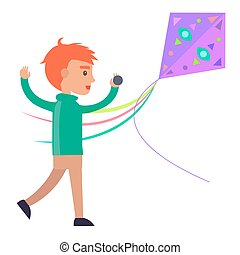 Redhead Boy Plays with Colorful Kite Illustration