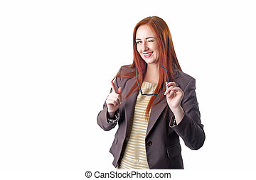 Redhead business woman in glasses