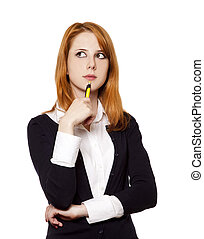 Redhead business women with pen.