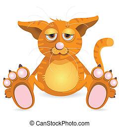 redhead cat - illustration, sitting redhead cat with sad eye...
