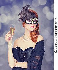 redhead, champagne, maskera, kvinnor