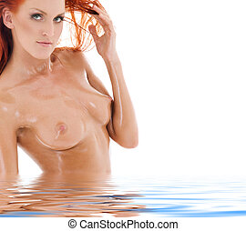 redhead desire - picture of healthy naked redhead in water