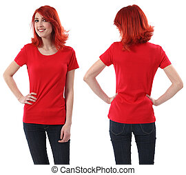Redhead female with blank red shirt - Young beautiful...