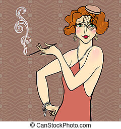 Redhead flapper girl - Vector illustration of a redhead...