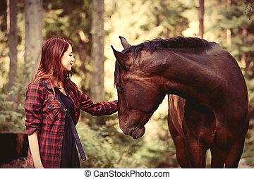 redhead, flicka, med, häst