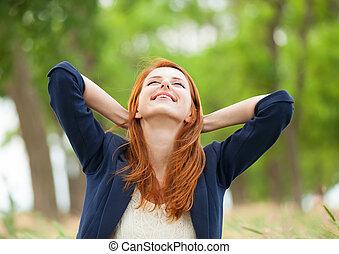 Redhead girl at outdoor