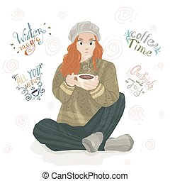 Redhead girl in a gray cap and comfortable clothes drinks hot coffee. Lettering about the winter.
