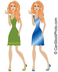 Redhead girl in green and blue dresses