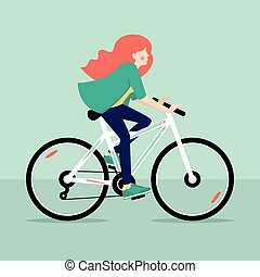 Redhead girl riding bicycle. Vector illustration