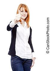 Redhead girl show Ok symbol. Studio shot.
