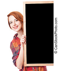Redhead girl with blackboard on white background